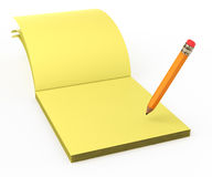 Yellow stickers and pencil Royalty Free Stock Image