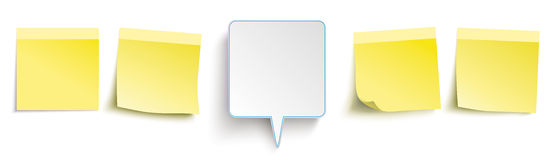Yellow Sticks Header Speech Bubble. Infographic with colored stickers and a speech bubble on the white background Royalty Free Illustration