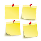 Yellow Sticks 4 Red Pins. Infographic with yellow stickers on the grey background stock illustration