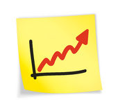 Yellow sticky note. Chart, 3d illustration Royalty Free Stock Photo