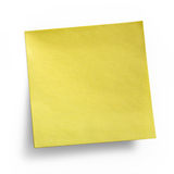 Yellow Sticky Note. Isolated on white background, clipping path included Royalty Free Stock Images