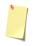 Yellow Sticky Note. Post it isolated on white background Stock Photos