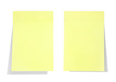Yellow sticky note. With shade on white royalty free stock photography