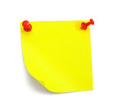 Yellow sticky note. With shade on white Stock Photography
