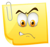 Yellow sticky note with angry face Stock Photography