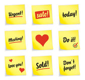 Yellow sticky note collection Stock Photo