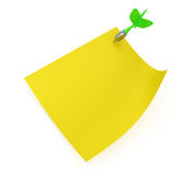 Yellow sticky note with dart Royalty Free Stock Photography
