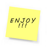 Yellow Sticky Note - ENJOY. Yellow Sticky Note on white background Stock Images