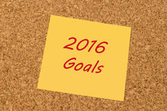 Yellow sticky note - 2016 Goals Royalty Free Stock Photos