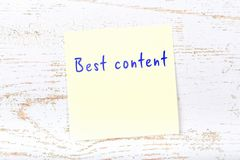 Yellow sticky note with handwritten text best content vector illustration