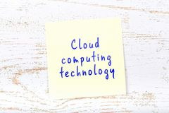 Yellow sticky note with handwritten text cloud computing technology stock illustration