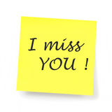 Yellow Sticky Note - I miss you. Feelings Stock Photo