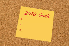 Yellow sticky note - New Year 2016 Goals list Royalty Free Stock Image