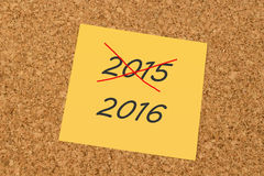 Yellow sticky note - Past Year 2015 and New Year 2016. Yellow sticky note on an office cork board - Past Year 2015 and New Year 2016 Royalty Free Stock Photos
