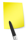 Yellow sticky note with pen Stock Images