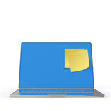 Yellow sticky note post on 3d laptop computer. As concept Royalty Free Stock Images