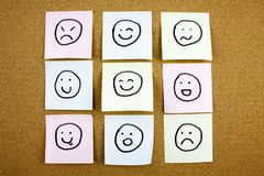 A yellow sticky note post it writing, caption, inscription Crumpled sticky note emoticons smileys in black ext on a royalty free stock photo