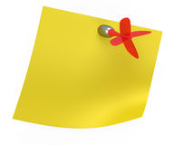 Yellow sticky note with red dart Royalty Free Stock Photography