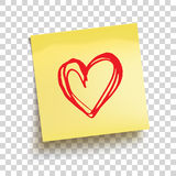 Yellow sticky note with red hand drawn heart. Vector royalty free illustration