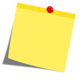 Yellow sticky note with red pin. Isolated on white background vector illustration