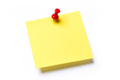 Yellow sticky note. With red push pin and shadow against a white background. Add your own text stock image