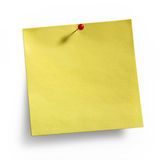 Yellow Sticky Note red pushpin. Yellow Noteand  red pushpin isolated on white background, clipping path included Stock Photography