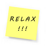 Yellow Sticky Note - RELAX. Yellow Sticky Note on white background Stock Photography