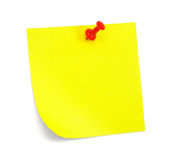 Yellow sticky note with shade. On white Stock Image