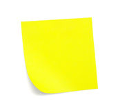 Yellow sticky note with shade. On white Royalty Free Stock Image