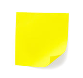 Yellow sticky note with shade Royalty Free Stock Photography