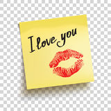 Yellow sticky note with text `I love you!`. Vector Stock Photography