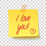 Yellow sticky note with text - I love you! royalty free stock photography