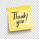 Yellow sticky note with text `Thank you!`. Vector Royalty Free Stock Photos