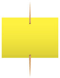 Yellow sticky note on a toothpick Stock Image