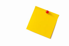 Yellow sticky note. On white background Royalty Free Stock Image
