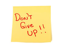 Yellow Sticky Note XXXL Isolated. Bright yellow sticky note saying, Don't Give Up! on it.  With shadow Royalty Free Stock Image