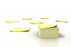 Yellow Sticky Notes. Pile of yellow sticky notes scattered on a white background. Clipping path included Royalty Free Stock Photos