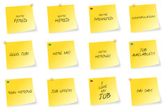 Yellow Sticky Notes With Job Related Messages. Vector illustration Stock Photo