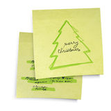 Yellow sticky notes with Merry Christmas tree. Business yellow sticky notes with Merry Christmas tree. Vector illustration, EPS10 Royalty Free Stock Image