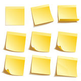 Yellow Sticky Notes. Yellow notice papers isolated on white Stock Photography
