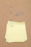 Yellow Sticky Notes and paper clips Stock Photos