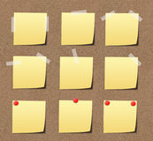 Yellow sticky notes on sand board. Stock Photography