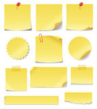 Yellow sticky notes. Set of blank yellow sticky notes in different shapes and sizes. Write your own messages on these sticky notes Royalty Free Stock Photo