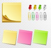yellow sticky notes, vector illustration. Paper set of  yellow sticky notes, vector illustration Royalty Free Stock Photos