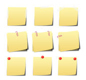 Yellow sticky notes on white background Royalty Free Stock Photos