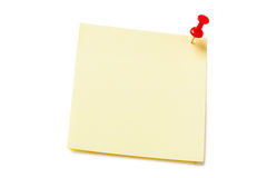 Yellow sticky paper isolated. Yellow sticky paper with pushpin isolated on white background Stock Image