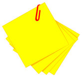 Yellow sticky and red clip. (illustration Royalty Free Stock Image