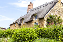 Yellow stone English cottage with thatched roof Stock Photography