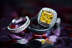 Yellow stone ring. Macro shot in the studio Stock Photo