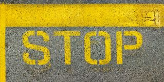 Stop line painted on asphalt Royalty Free Stock Image